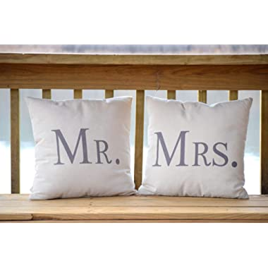 Decorative Pillows - Mr and Mrs - 17.7 x 17.7 Inches - Mr and Mrs Pillows - Marriage Pillows - Wedding Gifts - Wedding Pillows