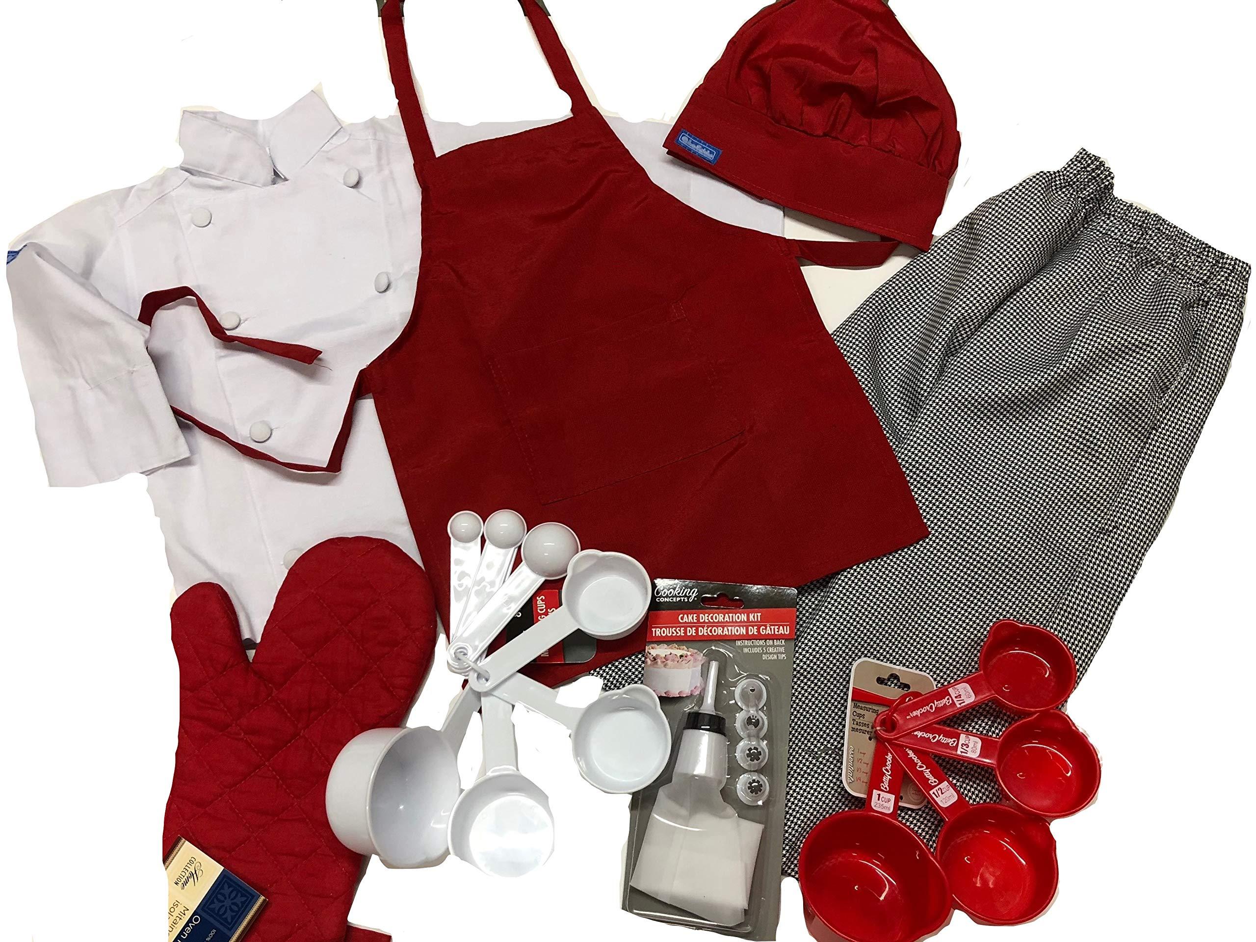 Kids Children Set Chef Jacket & Hat White, Adjustable (Full Set +Name+ Tools (Best))