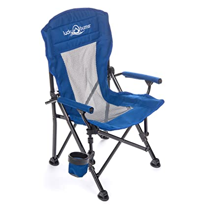 Lucky Bums Youth Folding Arm Chair With Cup Holder, Navy, Small, Navy,