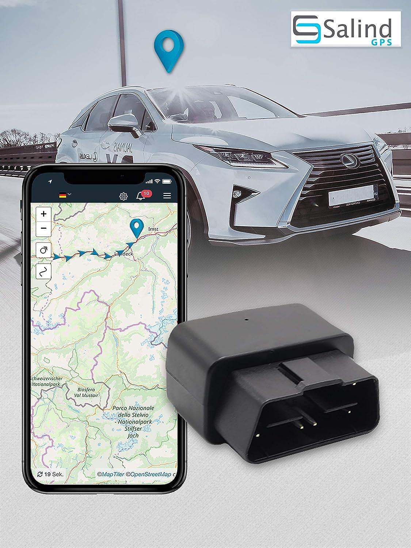 SALIND - Rastreador GPS para Coche (Enchufe OBD2, protección antirrobo para Coche, localización en Tiempo Real, localización en línea)