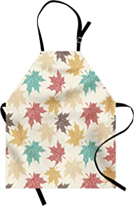 Lunarable Leaf Apron, Pattern Colored Maple Leaves Seasonal Nature Inspired Ecology Artwork Print, Unisex Kitchen Bib with Adjustable Neck for Cooking Gardening, Adult Size, Burgundy Beige
