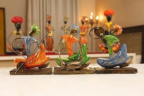 Buy Kolambas Metal Statue Tribal Kalbalia Musicians Figurine Set Of