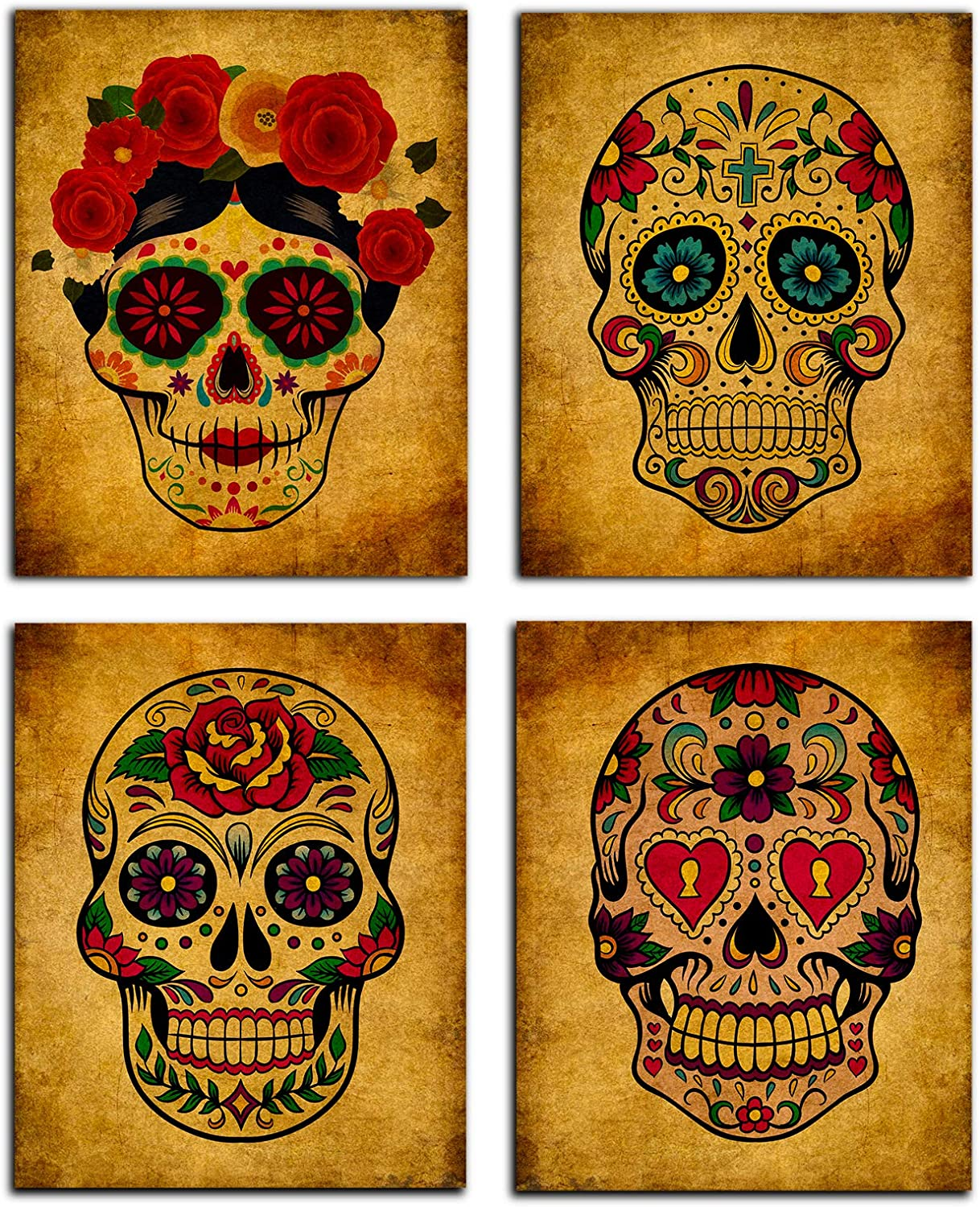FaCraft Sugar Skull Wall Art Decorations,Set of 4 Day of The Dead Skeleton Vintage Abstract Painting Picture for Living Room Bedroom Office Home Decorations 8 X 10 Inch-Unframed