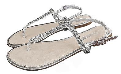 Hailys Sandale Zehentrenner Gr. 40 Silber Silver Riemchensandale Damen  Schuhe Römersandale Lederfrei 532a6c918b