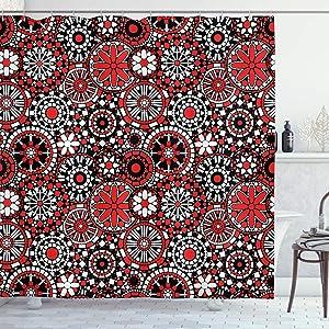 Ambesonne Red Mandala Shower Curtain, Geometric Shapes Forming Flower Mosaic Style Design, Cloth Fabric Bathroom Decor Set with Hooks, 70