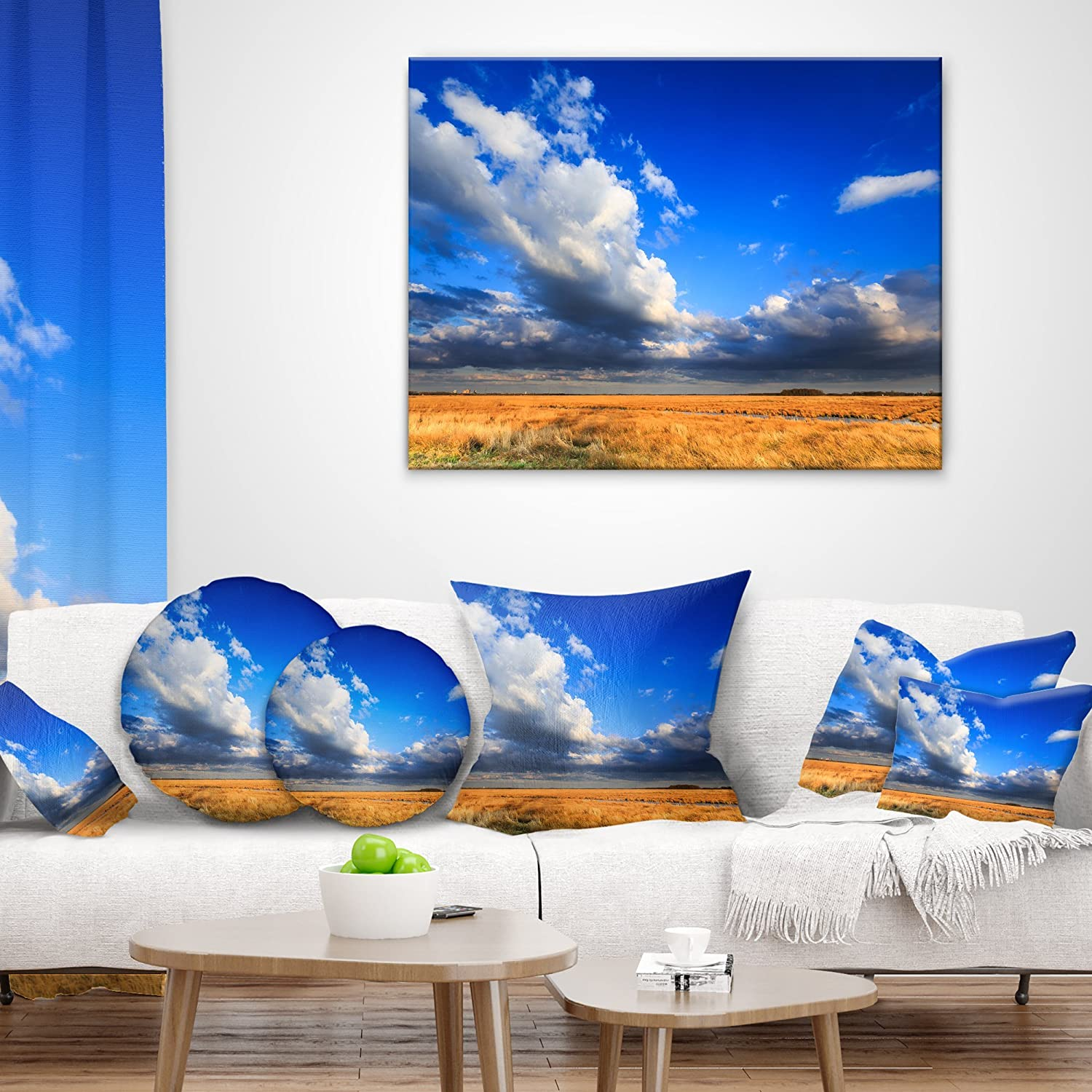 Insert Side x 26 in Sofa Throw Pillow 26 in Designart CU14802-26-26 Clouded Blue Sky Over Prairie Landscape Printed Cushion Cover for Living Room in
