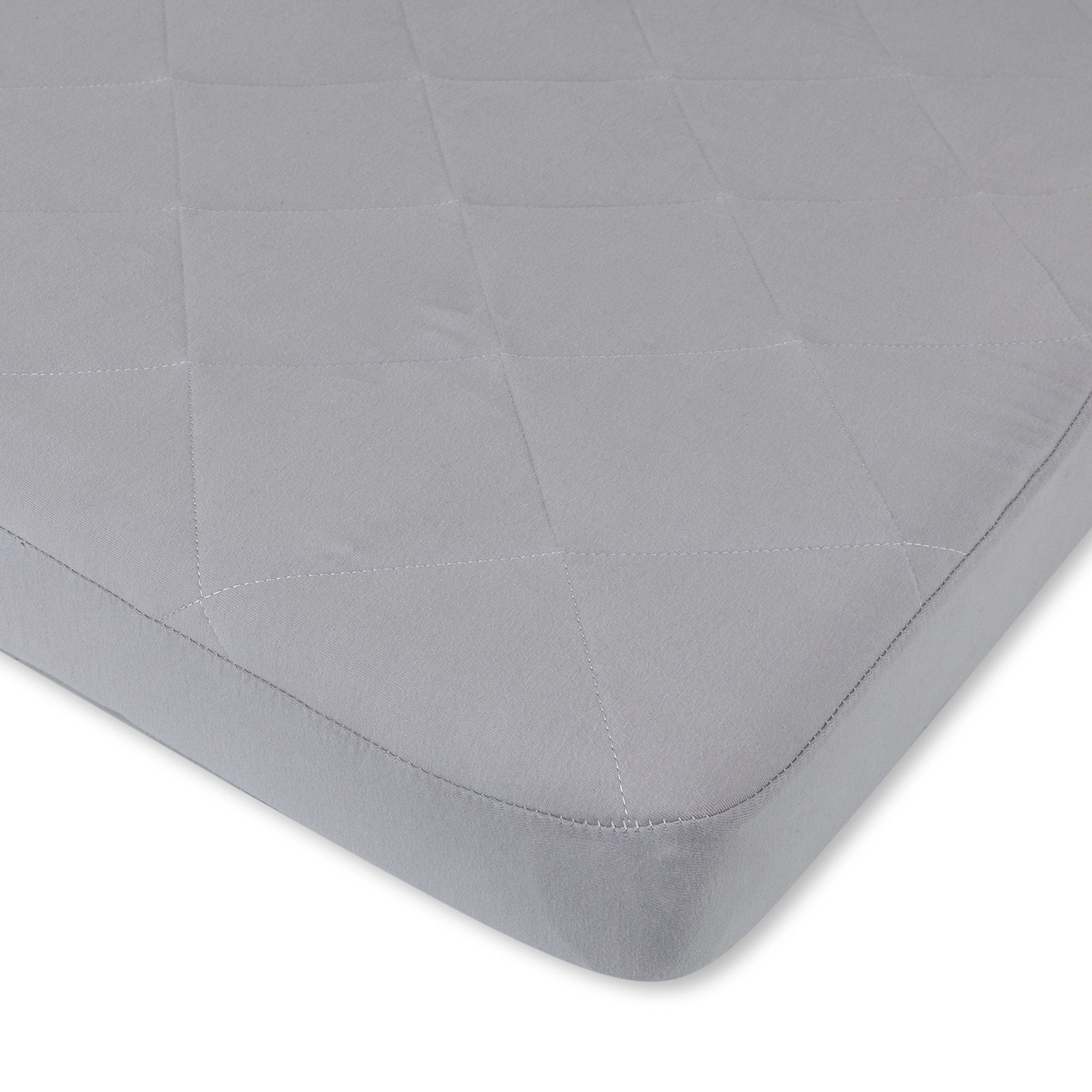 Waterproof Cotton Quilted Pack n Play Sheet | Mini Crib Sheet | New Revised Fit with Added Heat Protection |All in one Mattress Pad Cover and Cozy Sheet, Grey by Ely's & Co by Ely's & Co. (Image #3)