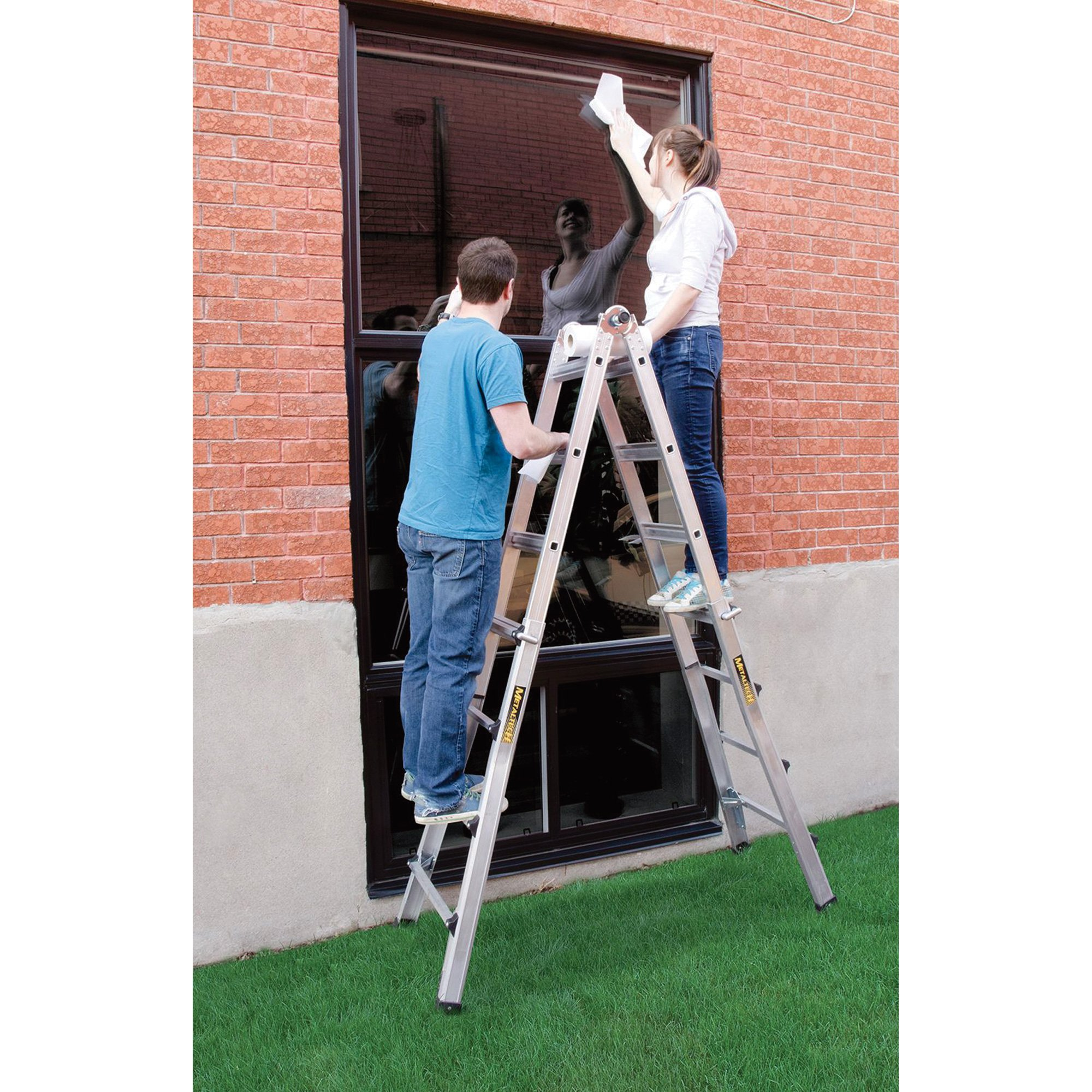 Metaltech E-MTL7100ST 17 Ft. Aluminum Telescoping Multi-Position Ladder with 300 Lb. Load Capacity