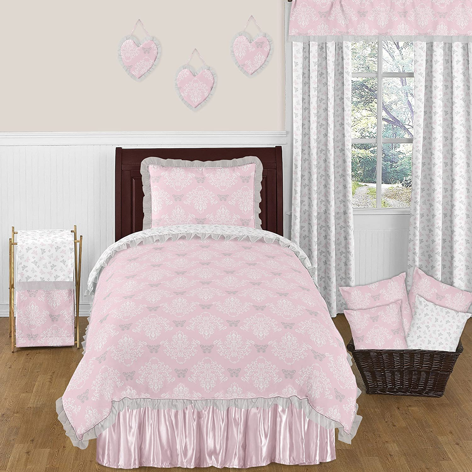 Sweet Jojo Designs 4-Piece Pink, Gray and White Shabby Chic Alexa Damask Butterfly Girls Twin Bedding Set Collection