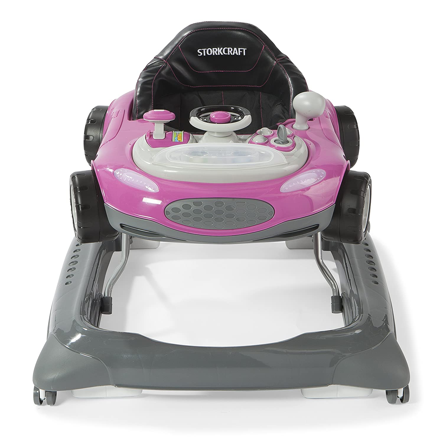 Adjustable Seat Pad Folds for Easy Storage Storkcraft Mini-Speedster Activity Walker Pink Interactive Walker with Realistic Driving Experience