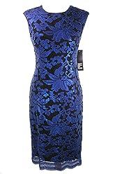 396137c5d04 Leslie Fay Cap Sleeve Sequin Lace Sheath Dress Navy Size 6