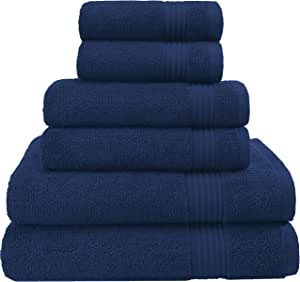 Hotel & Spa Quality, Absorbent and Soft Decorative Kitchen and Bathroom Sets, Cotton, 6 Piece Turkish Towel Set, Includes 2 Bath Towels, 2 Hand Towels, 2 Washcloths, Navy Blue