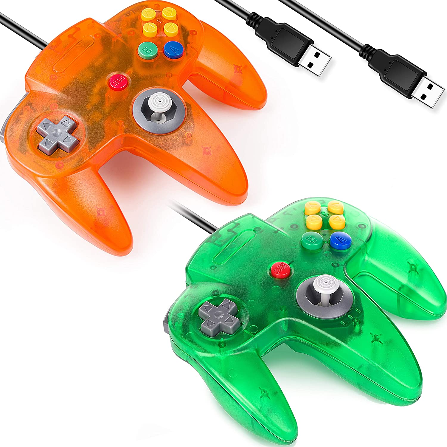 [USB Version] Classic N64 Controller, SAFFUN N64 Wired USB PC Game pad Joystick, N64 Bit USB Stick for Windows PC MAC Linux Genesis Raspberry Pi Retropie Emulator [Plug & Play] (Orange+Green)-2 Pack