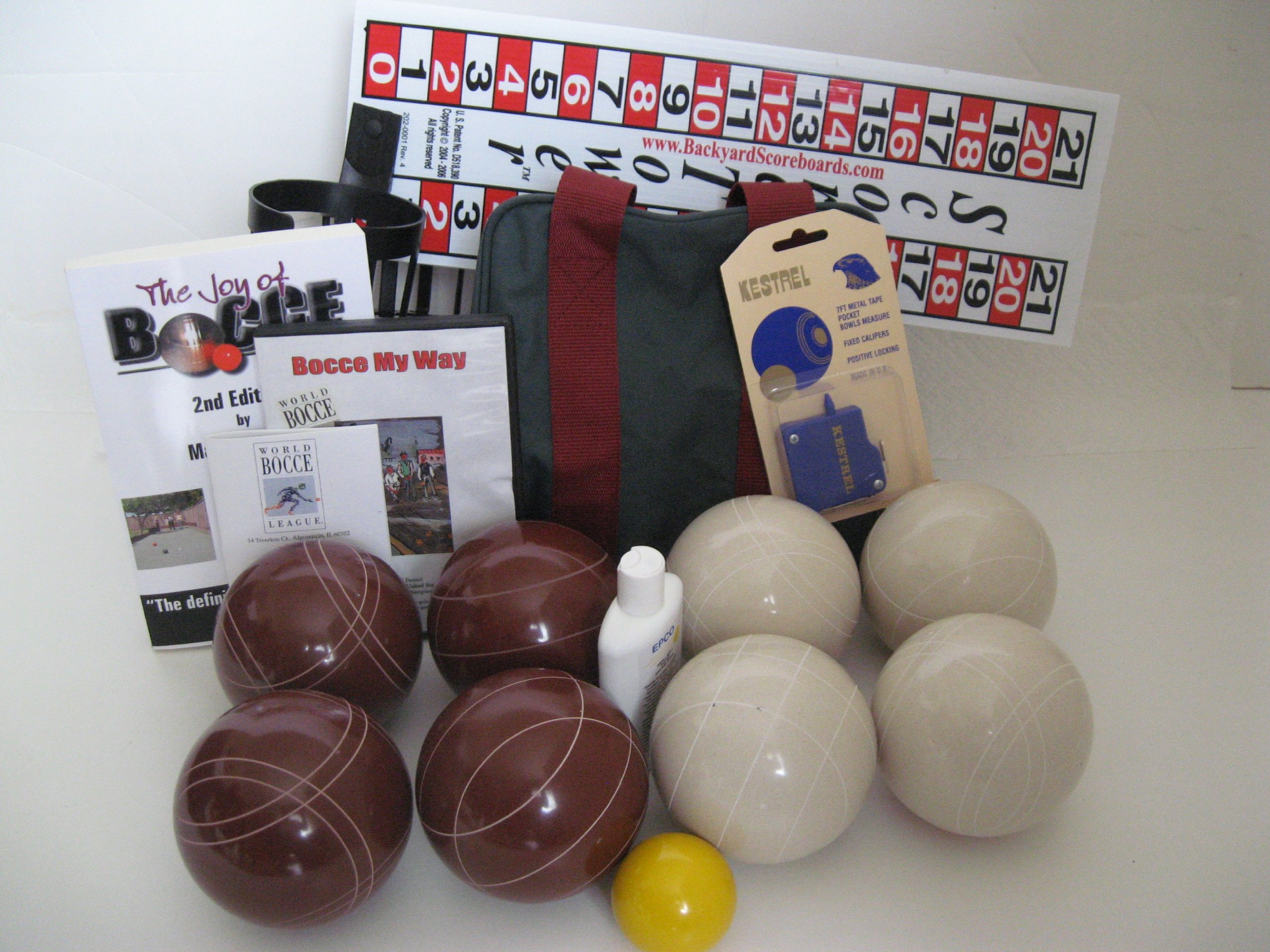 Everything Bocce Package - 110mm Epco Red and White Balls, Score Tower, High ...