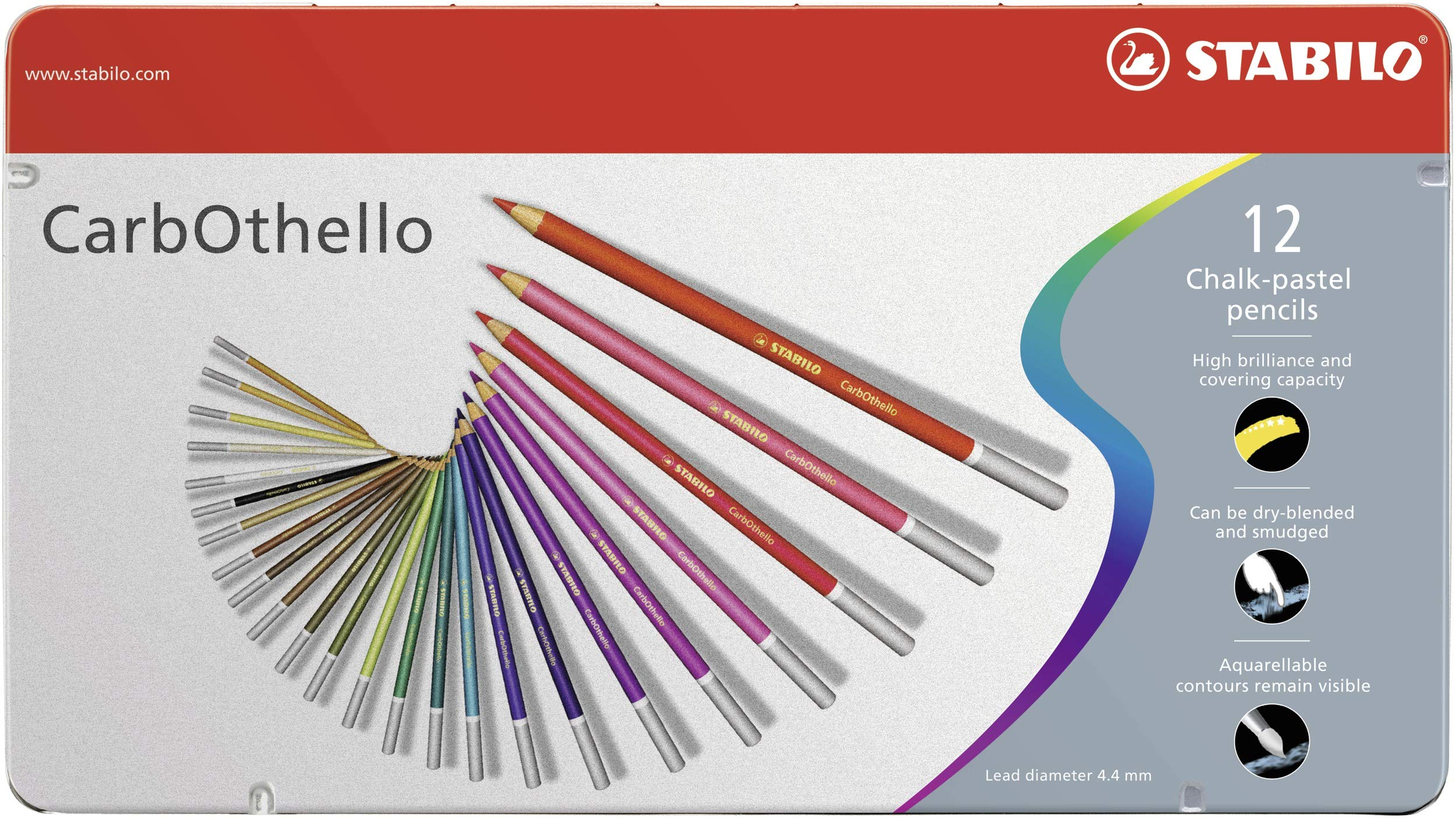 Stabilo CarbOthello Chalk-Pastel Colored Pencil, 4.4 mm - 12-Color Set