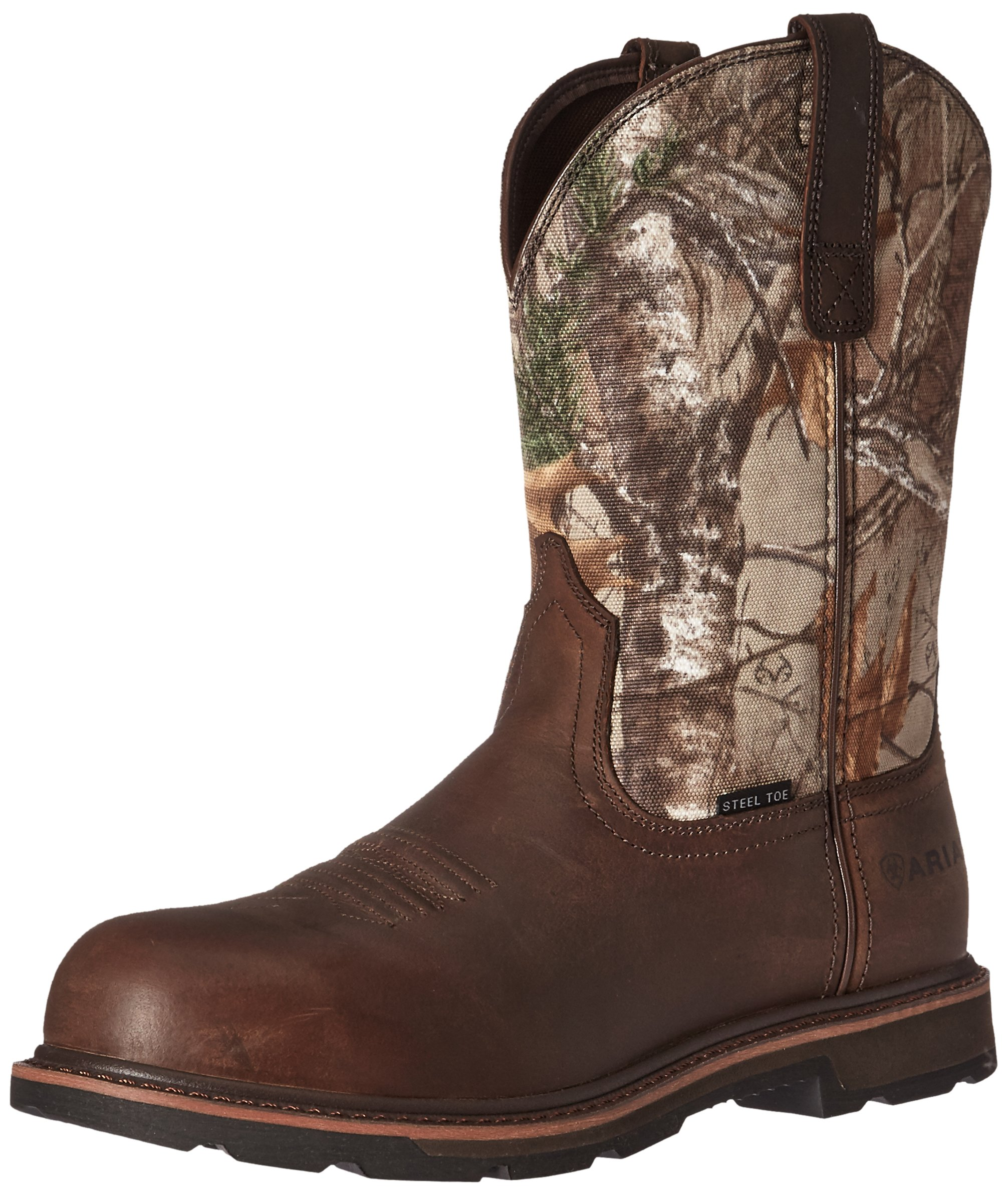 Ariat Work Men's Groundbreaker Pull-On Steel Toe Work Boot, Brown/Real Tree Extra, 7.5 D US