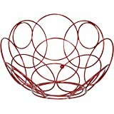 Southern Homewares Fruit Basket Round Decorative Bowl for Kitchen Counter Red Color 10 3/8-inch Diameter