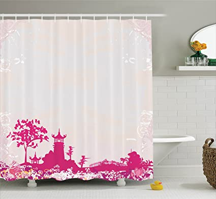 Amazon.com: Asian Shower Curtain by Ambesonne, Traditional Pagoda in ...