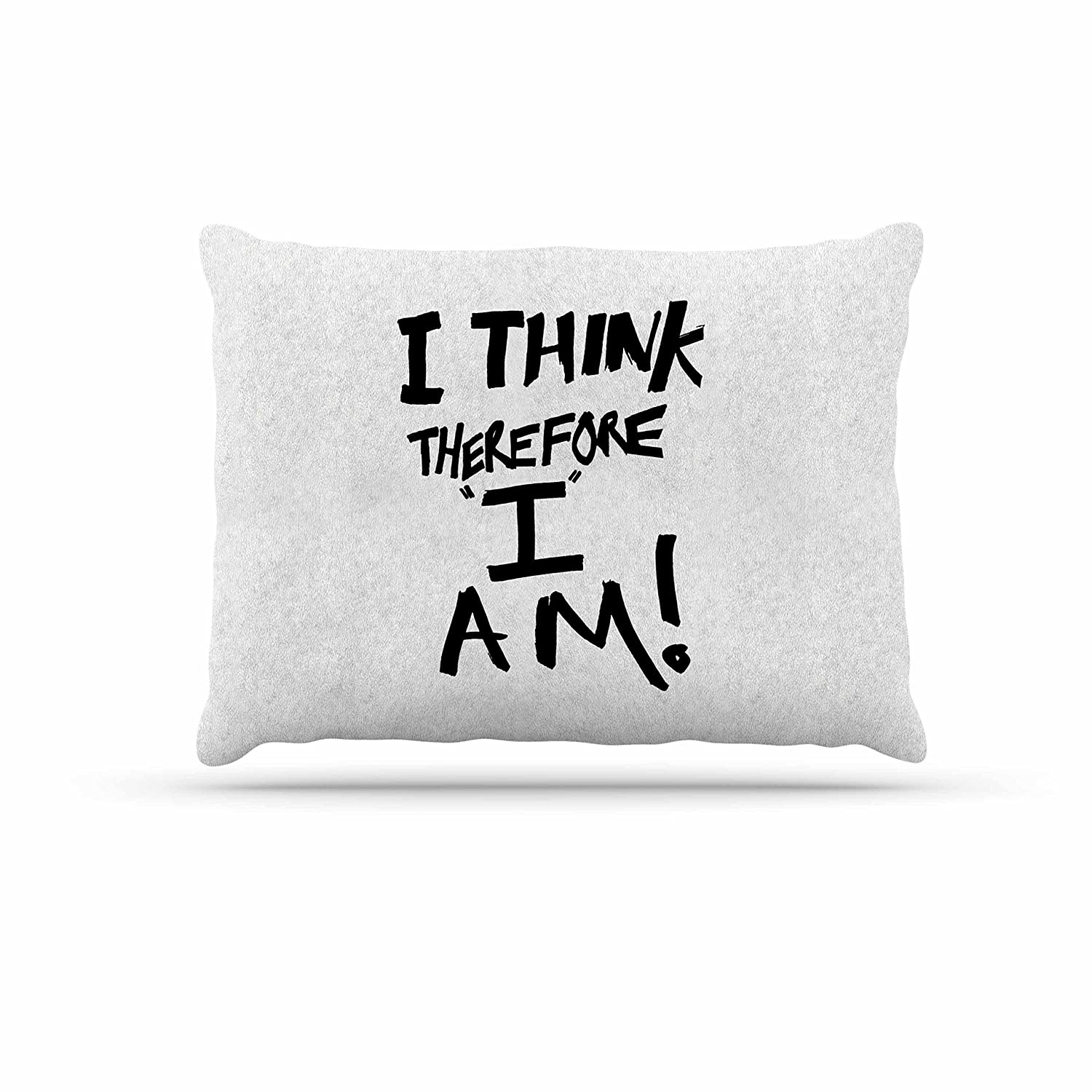 KESS InHouse Bruce Stanfield I Think, Therefore I Am White Typography Dog Bed, 30  x 40