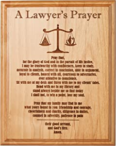 """Etching Memories A Lawyer's Prayer Engraved on 8"""" by 10"""" Red Alder with Balance Image, with Lady Justice."""