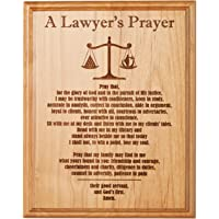 A Lawyer's Prayer Engraved on 8 by 10 Red Alder with Balance Image with Lady Justice.