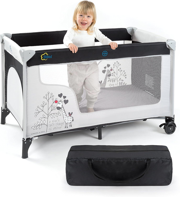 Fillikid Cuna de Viaje para Bebé Jirafa 120x60 cm, de 0 a 3 años - Cuna Viaje Plegable con Bolsa de Transporte, Ruedas y Entrada Lateral