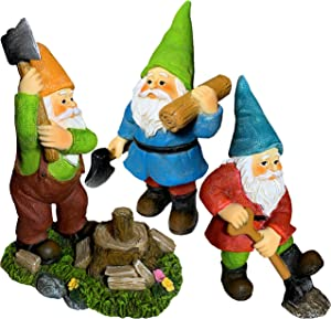 Mood Lab Miniature Garden Gnomes - Working Gnomes Kit of 3 pcs - Figurines and Accessories Set