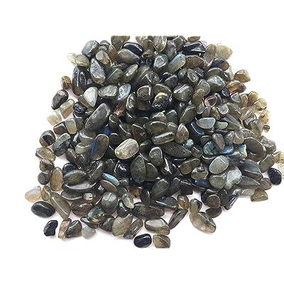 Zungtin 450g Labradorite Polished Chips Stone,Crushed Crystal Quartz Pieces,Irregular Shaped Stones: Home & Kitchen