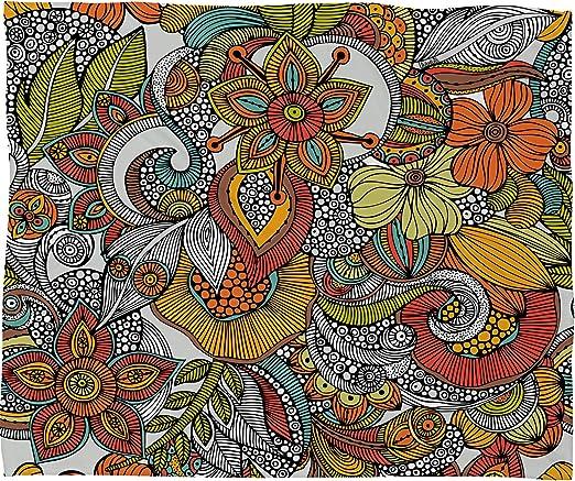Deny Designs Valentina Ramos Bird In Flowers Black White Fleece Throw Blanket 60 x 80