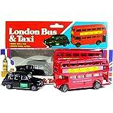 London Red Bus à impériale et en taxi noir Die Cast Model avec Moving Wheels (Petit)