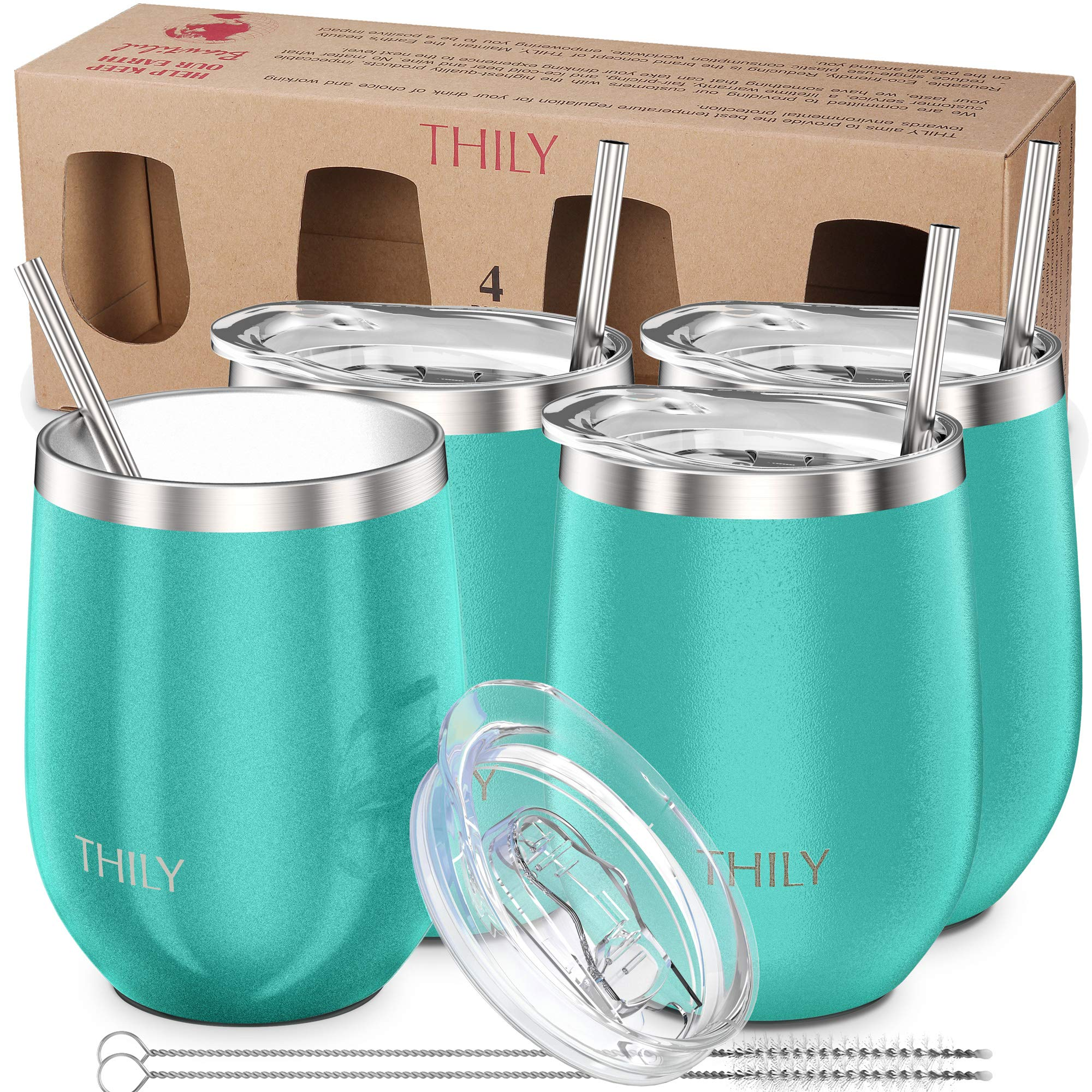 Stainless Steel Stemless Wine Glasses - THILY Triple Vacuum Insulated Cute Travel Tumbler Cup with Spill-Proof Lid, Reusable Straw, Keep Cold & Hot for Wine, Coffee, Birthday Xmas Gift, 4 Pack, Teal by THILY (Image #1)