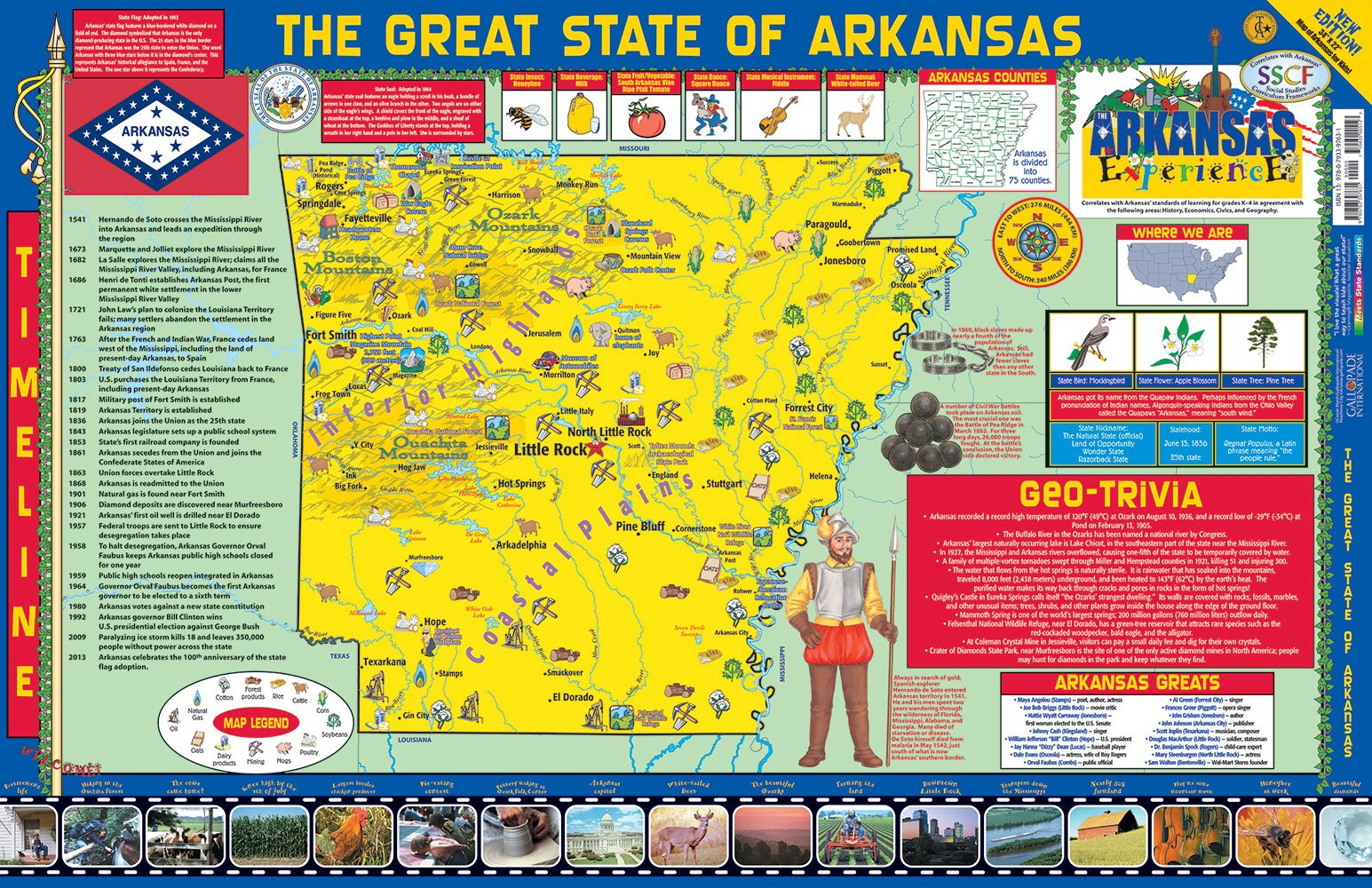 Gallopade Publishing Group 22 x 34 Inches The Arkansas Experience Poster/Map (9780793397631) [Carole Marsh] (Tapa Blanda)