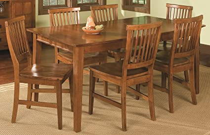 Awesome Home Style Arts And Crafts 7 Piece Rectangular Dining Set, Cottage Oak  Finish