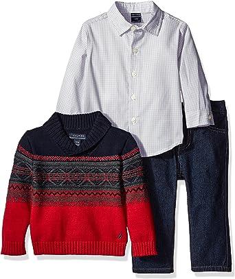 Nautica Boys Three Piece Set with Shawl Sweater Woven Shirt and Denim Pant