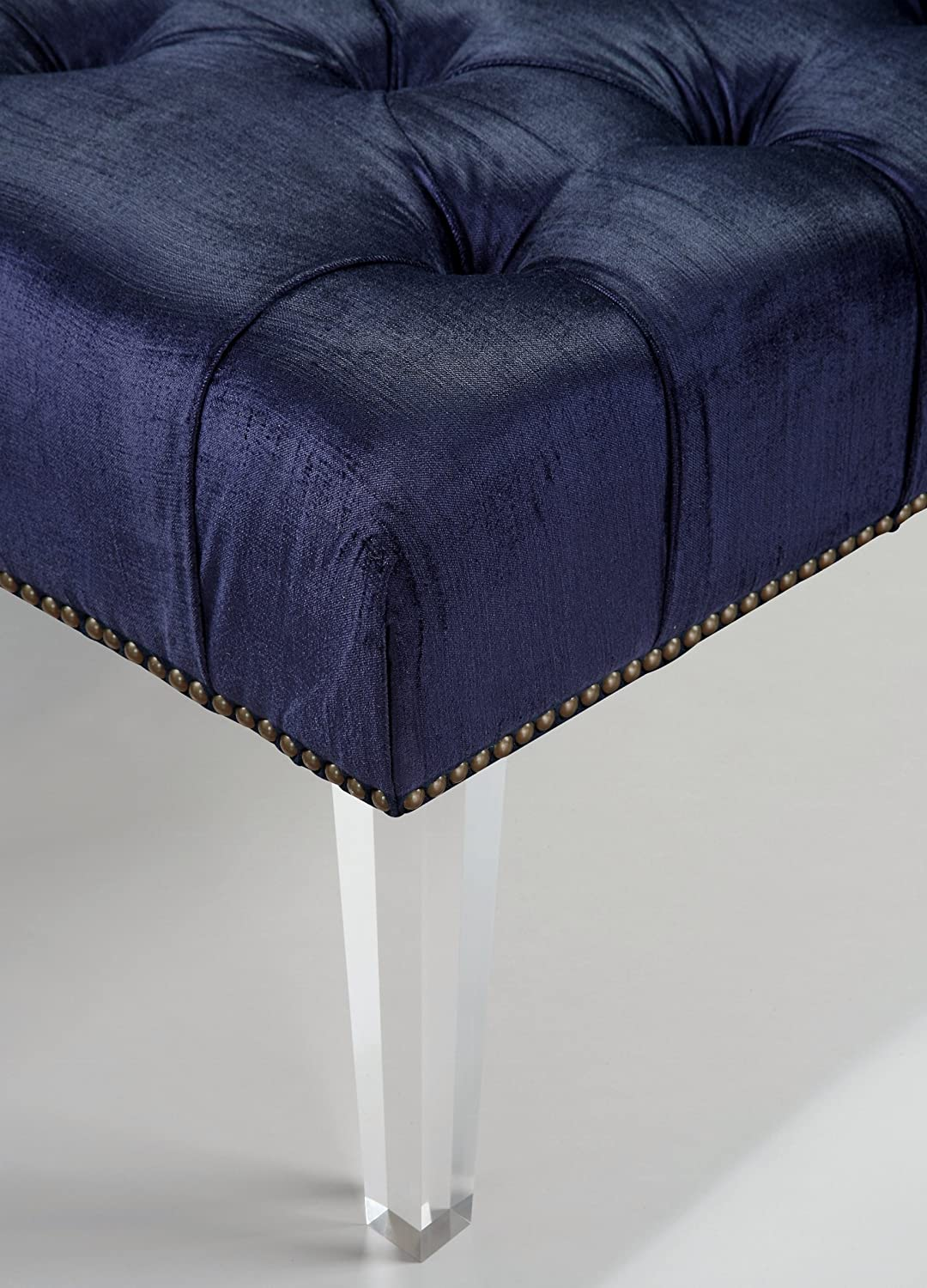 Amazon.com: Tov Furniture The Stella Collection Modern Velvet Upholstered  Wood Accent Bench With Lucite Legs, Navy: Kitchen U0026 Dining
