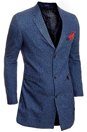 D&R Fashion Abrigo de Invierno para Hombres 3/4 Largo Chaqueta Cachemira Sobretodo de Noche