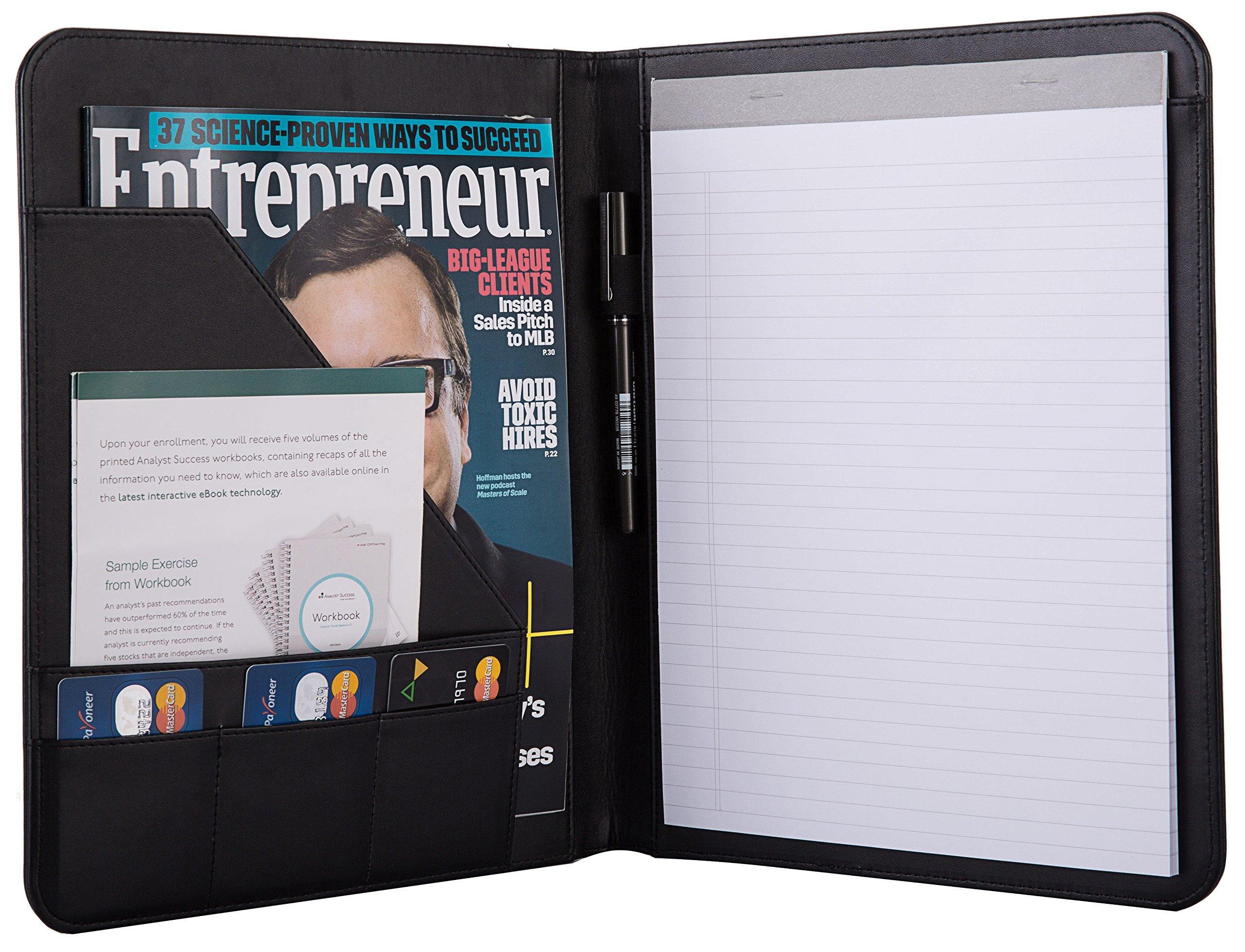 Jancosta Business Padfolio Portfolio with Letter Size Writing Notepads (New Black)