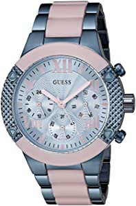 GUESS Women's U0770L4 Trendy Iconic Sky Blue and Pink Chrono-Look