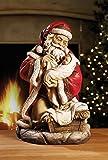 Santa with Baby Jesus 16 inch Christmas Sculpture Figurine Decoration