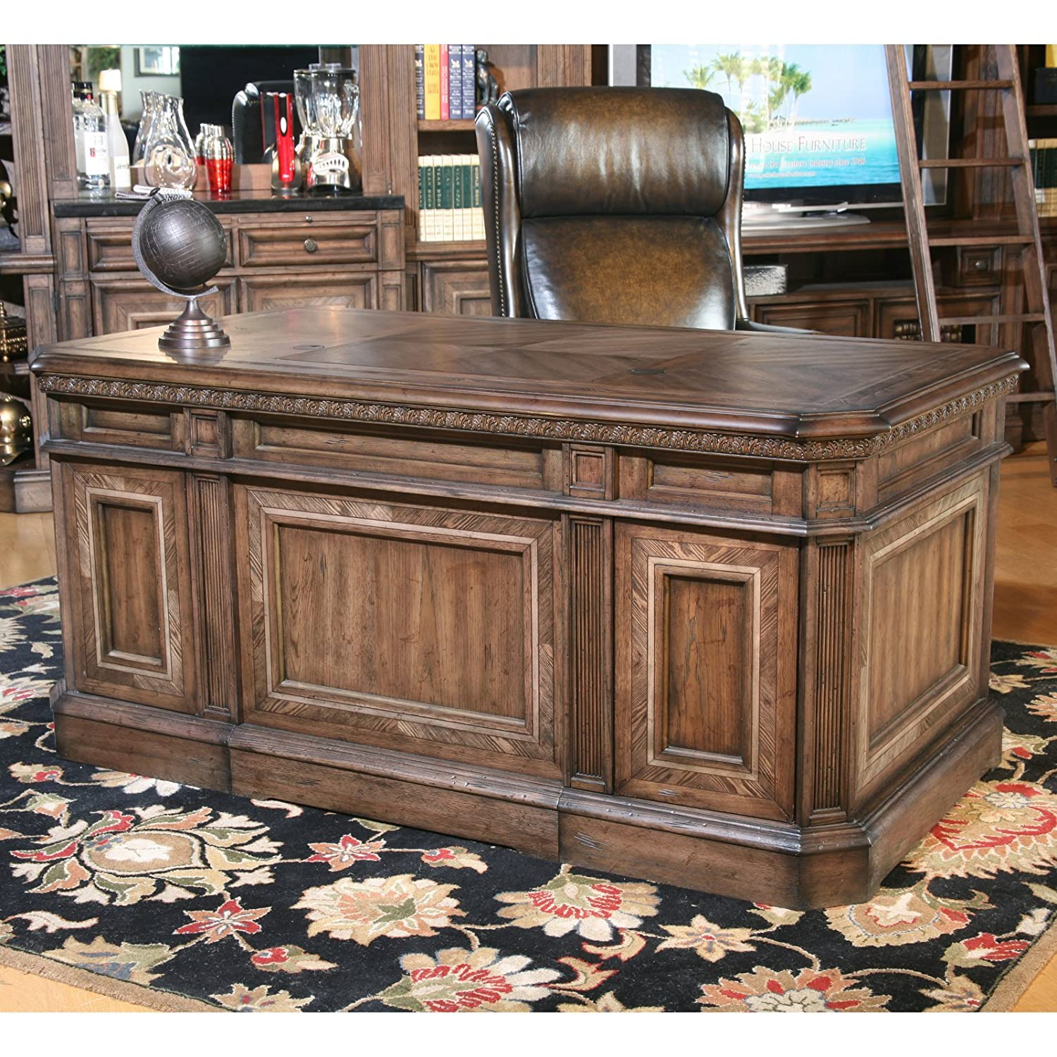 Double Pedestal Library Executive Desk Antique Vintage Pecan - Antique Executive Desk Vintage Style Office Furniture