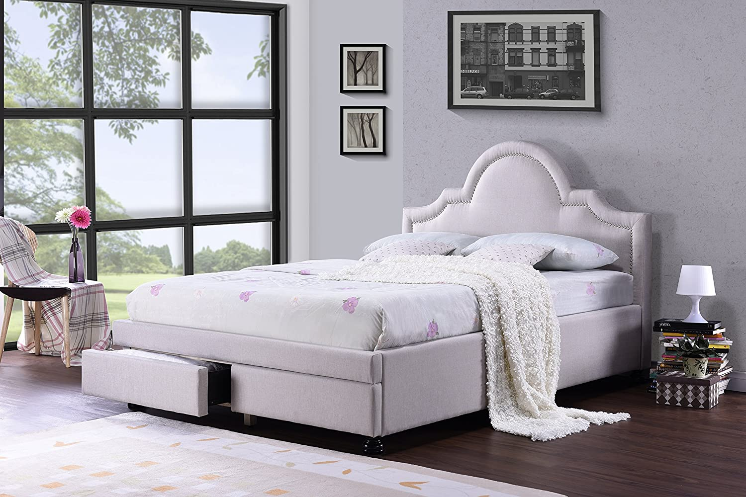 Amazon.com Baxton Studio Brisbane Modern Fabric Storage Platform Bed with 2 Drawers Queen Light Beige Kitchen u0026 Dining & Amazon.com: Baxton Studio Brisbane Modern Fabric Storage Platform ...
