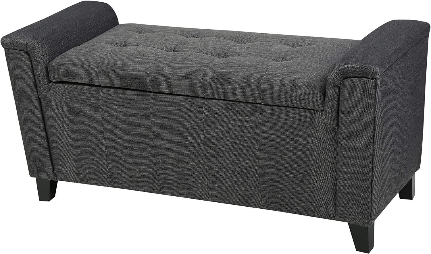 Christopher Knight Home Alden Armed Fabric Storage Bench, Grey