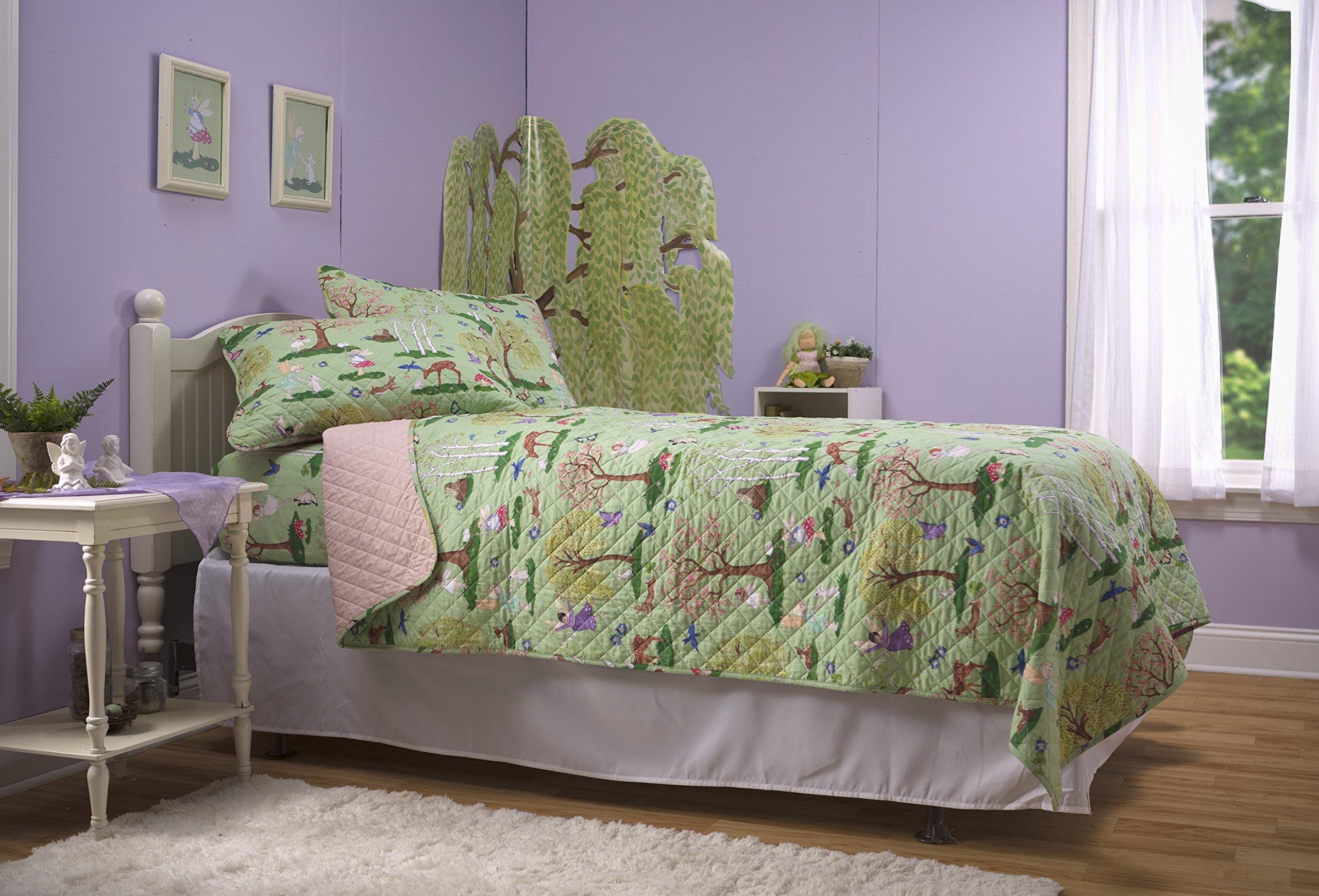 Children's Nature Fairy Quilt Bedspread Set, 100% Cotton (Twin)