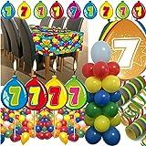 63-teiliges Deko-Set für den * 7. GEBURTSTAG * // mit Tischdecke, Wimpelkette, Geburtstagskerzen, Luftballons, Ballon-Haltern und Luftschlangen // Dekoration Kinder Kindergeburtstag siebter bunt Kerzen