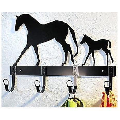 Perchero de pared caballo + potro perchero (metal, 4 ganchos ...