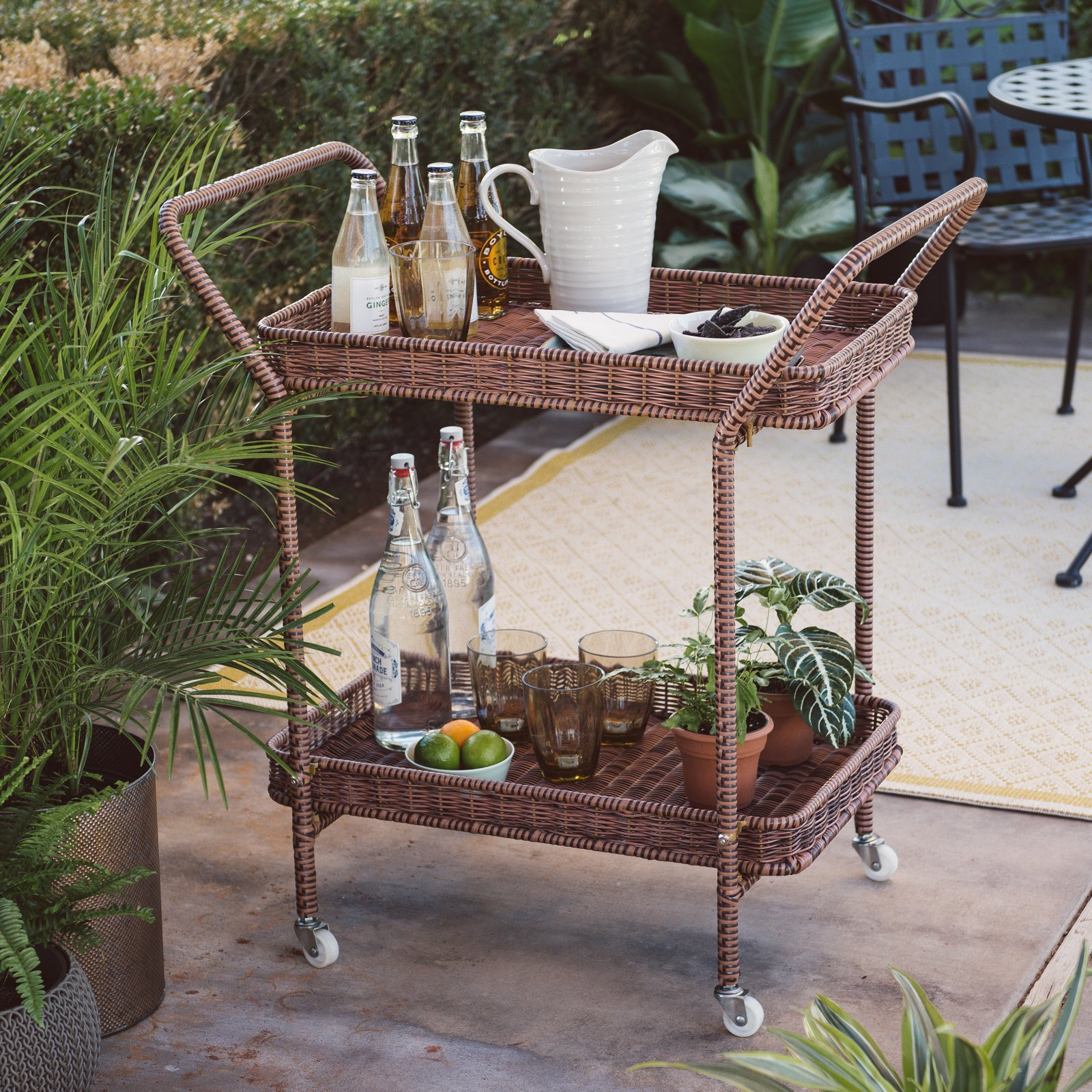 Home Improvements Tonal Brown Resin Wicker Outdoor Patio Portable Bar Cart 2 Tier Grilling Serving Cart