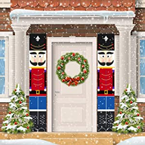 ORIENTAL CHERRY Nutcracker Christmas Decorations - Outdoor Xmas Decor - Life Size Soldier Model Nutcracker Banners for Front Door Porch Garden Indoor Exterior Kids Party