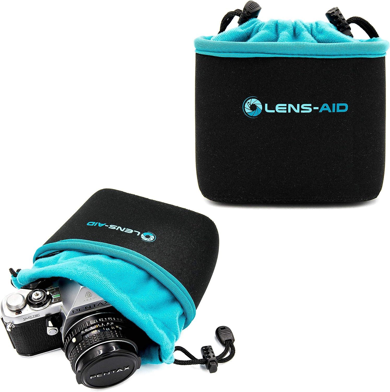 Lens-Aid Funda Neopreno para Camara con Forro Polar: Bolsa Protectora para DSLR, Bridge, MFT, com-pacta y Accesorios, Compatible para Canon, Nikon, Pentax, Fuji, Sony y más (S)