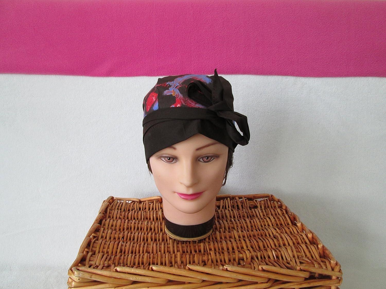 Foulard, turban chimio, bandeau pirate au féminin marron avec des motif bleu, rouge et jaune