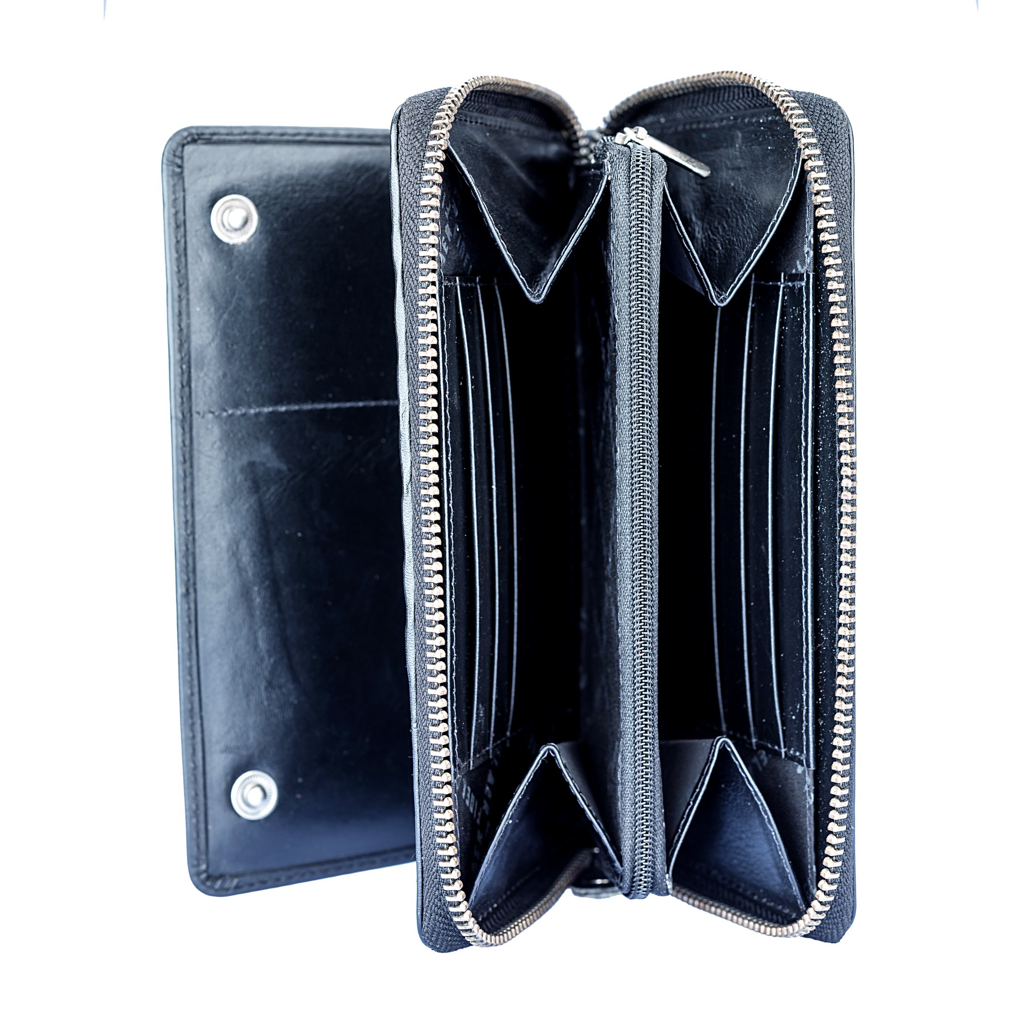 Leather Bifold Travel Wallet Passport Black|Finelaer by FINELAER (Image #3)